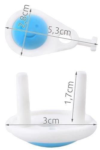 Set 6 protectii pentru priza  alb/albastru set 6 buc + 1 cheie 6