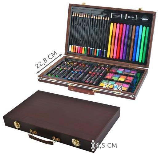 Set pictura si desen, 81 de piese, carioci, creioane acuarele servieta din lemn [12]