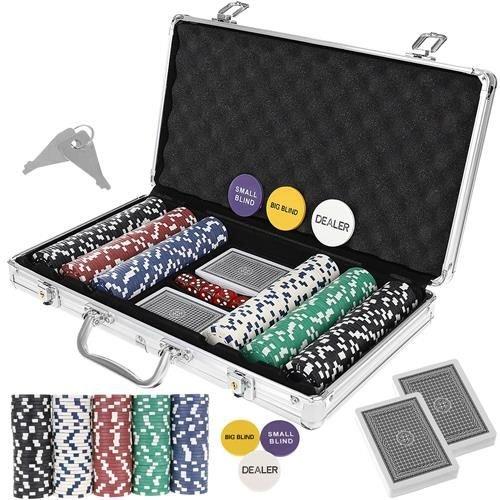 Set De Poker 300 Jetoane Servieta Aluminiu 5 Zaruri  2 Pachete Carti De Joc 0
