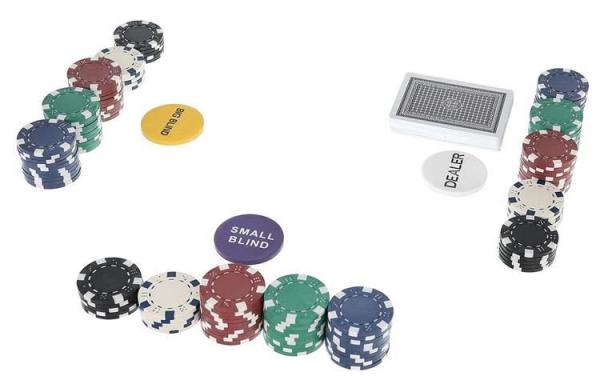 Set De Poker 300 Jetoane Servieta Aluminiu 5 Zaruri  2 Pachete Carti De Joc 5