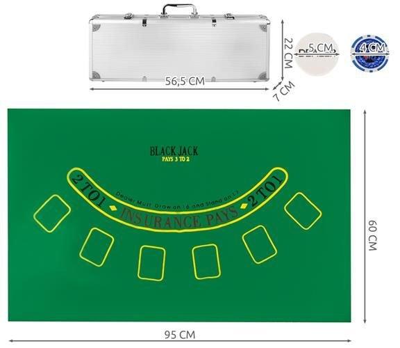 Set de poker cu 500 jetoane greutate jeton 13g include servieta aluminiu 5 zaruri 2 pachete carti de joc [11]