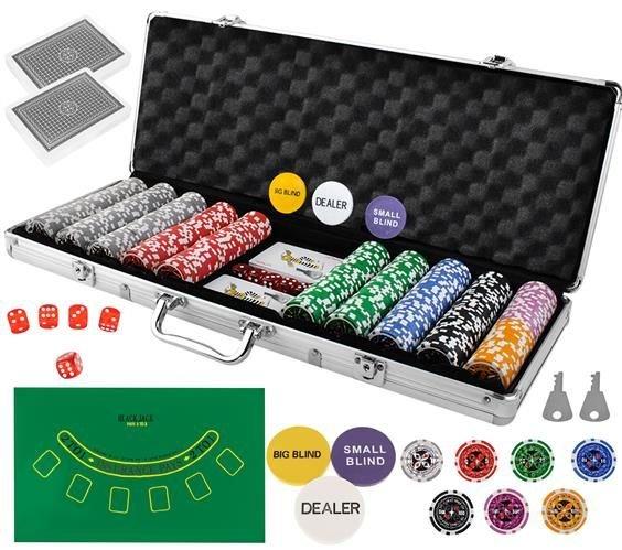 Set de poker cu 500 jetoane greutate jeton 13g include servieta aluminiu 5 zaruri 2 pachete carti de joc [0]