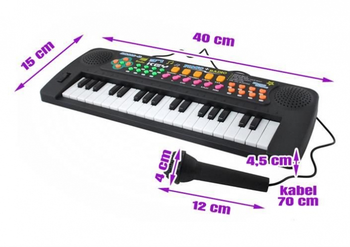 Set Orga Electronica pentru Copii cu 37 Clape, Microfon si Radio, Culoare Negru 1