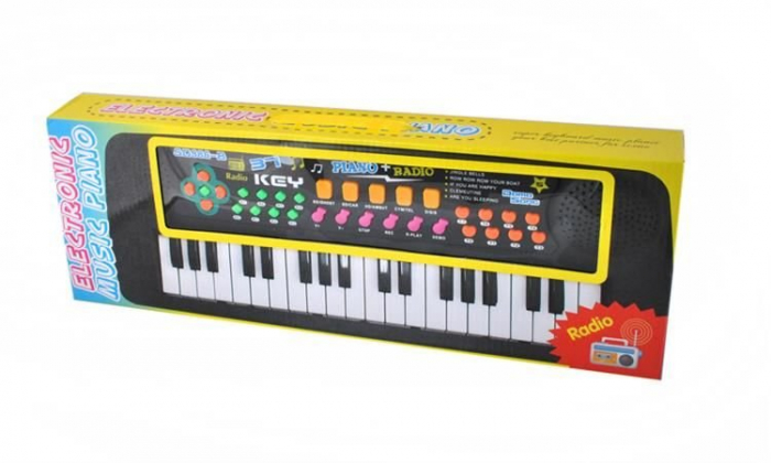 Set Orga Electronica pentru Copii cu 37 Clape, Microfon si Radio, Culoare Negru 2