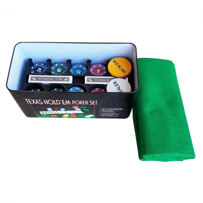 Set Poker Texas  200 jetoane si carti, cutie metalica, accesorii [2]