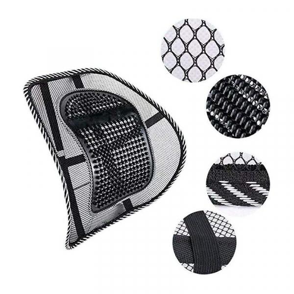 Suport lombar pentru scaun birou si auto cu bile masaj prindere cu benzi elastice 7