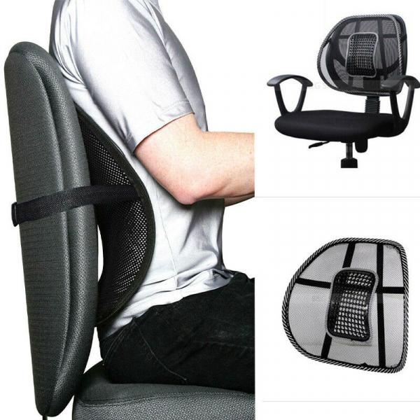 Suport lombar pentru scaun birou si auto cu bile masaj prindere cu benzi elastice 4