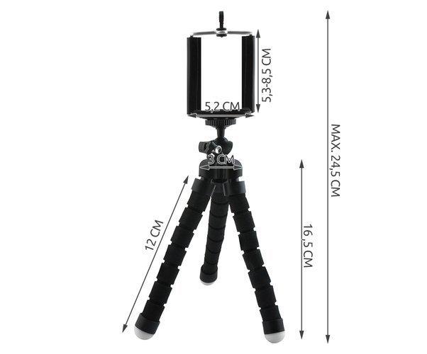 Suport Telefon Trepied Pentru Birou Tripod Selfie Camere Tablete Flexibil Negru 6