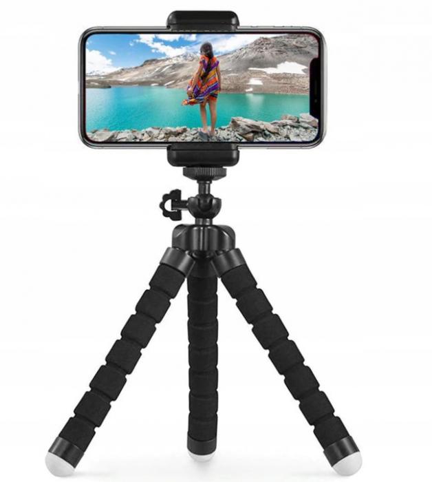 Suport Telefon Trepied Pentru Birou Tripod Selfie Camere Tablete Flexibil Negru 0