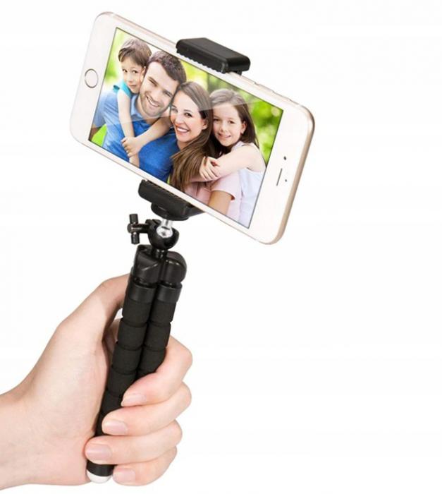 Suport Telefon Trepied Pentru Birou Tripod Selfie Camere Tablete Flexibil Negru 10