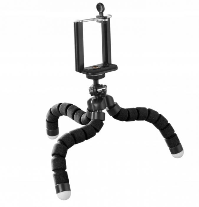 Suport Telefon Trepied Pentru Birou Tripod Selfie Camere Tablete Flexibil Negru 8