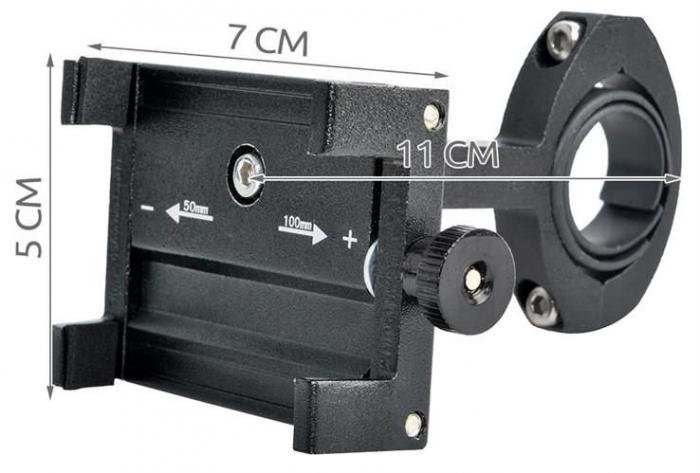 Suport telefon pentru bicicleta,Malatec universal, reglabil 50-100 mm, aluminiu [9]
