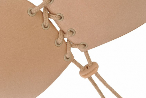 Sutien invizibil cu push-up si parte adeziva marime B, fara bretele, culoare Bej, [5]