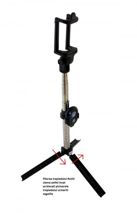 Selfie Stick Universal 2 in 1 Extensibil Trepied Foto pentru Telefon + Telecomanda Bluetooth 2