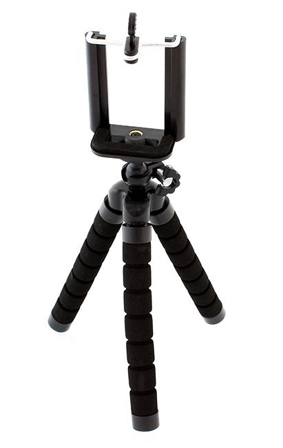 Suport Telefon Trepied Pentru Birou Tripod Selfie stick  inaltime 26 cm negru cu picioare albe 0