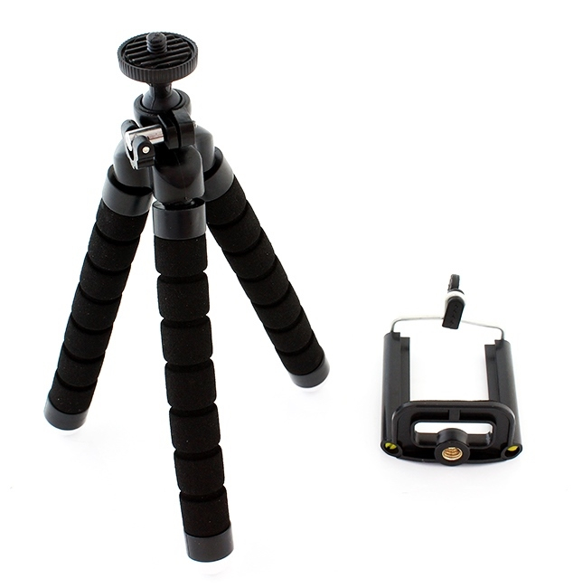 Suport Telefon Trepied Pentru Birou Tripod Selfie stick  inaltime 26 cm negru cu picioare albe 2