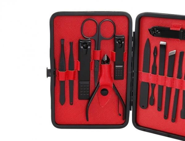 Trusa de unghii 15 piese, manichiura, indepartare puncte negre, penseta si instrument curatare auriculara clutch negru [2]