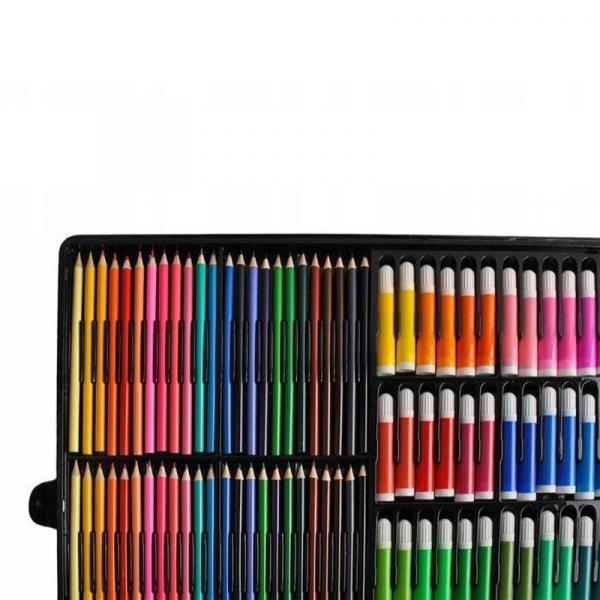 Trusa desen si pictura pentru copii, 258 piese, acuarele, creioane, pensule, carioci, valiza depozitare 4