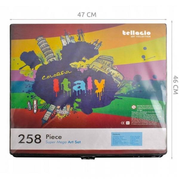 Trusa desen si pictura pentru copii, 258 piese, acuarele, creioane, pensule, carioci, valiza depozitare 8