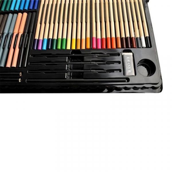Trusa desen si pictura pentru copii, 258 piese, acuarele, creioane, pensule, carioci, valiza depozitare 11