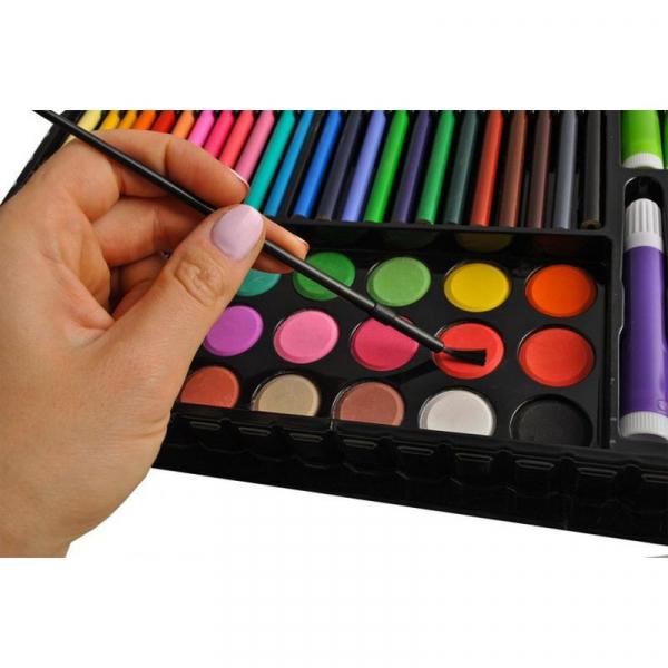 Trusa desen si pictura pentru copii, 258 piese, acuarele, creioane, pensule, carioci, valiza depozitare 10