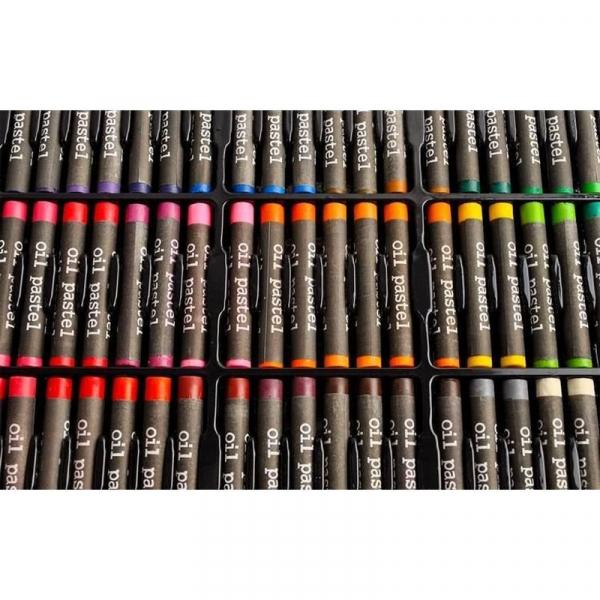 Trusa desen si pictura pentru copii, 258 piese, acuarele, creioane, pensule, carioci, valiza depozitare 13
