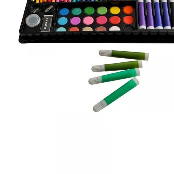 Trusa desen si pictura pentru copii, 258 piese, acuarele, creioane, pensule, carioci, valiza depozitare 15