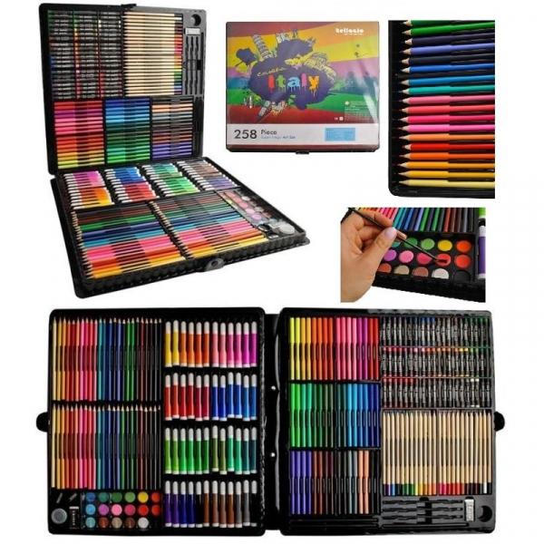 Trusa desen si pictura pentru copii, 258 piese, acuarele, creioane, pensule, carioci, valiza depozitare 0
