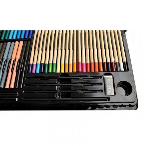 Trusa desen si pictura pentru copii, 258 piese, acuarele, creioane, pensule, carioci, valiza depozitare 17