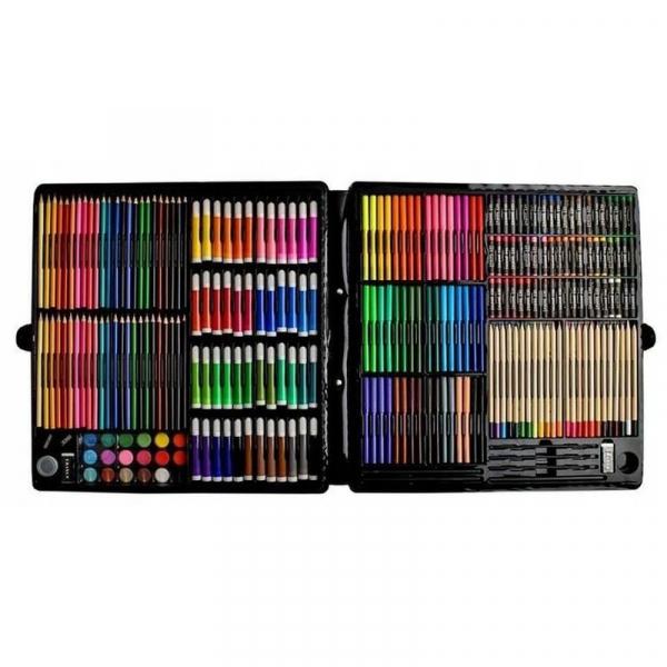 Trusa desen si pictura pentru copii, 258 piese, acuarele, creioane, pensule, carioci, valiza depozitare 7