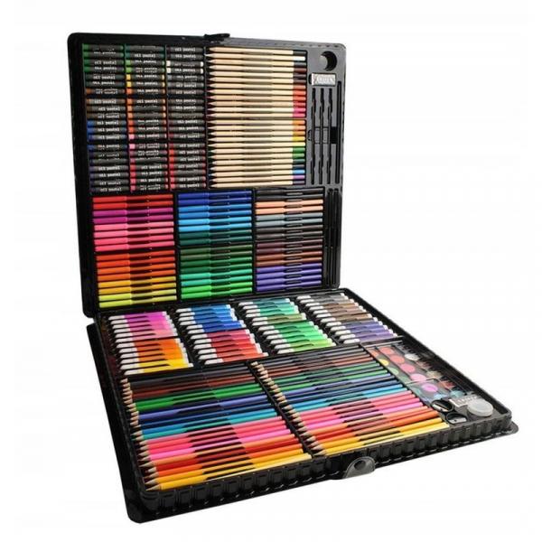 Trusa desen si pictura pentru copii, 258 piese, acuarele, creioane, pensule, carioci, valiza depozitare 6
