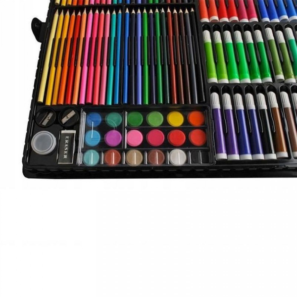 Trusa desen si pictura pentru copii, 258 piese, acuarele, creioane, pensule, carioci, valiza depozitare 3