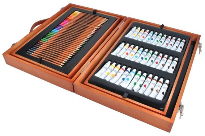 Set de pictura si desen Edays, Cutie de depozitare din lemn, 174 de piese [1]
