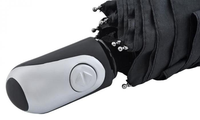Umbrela  pliabila automata deschis/inchis cu buton neagra complet 110cm diametru, articulatii anti-vant 2