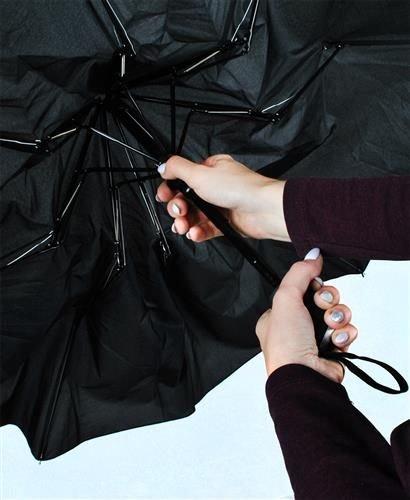 Umbrela  pliabila automata deschis/inchis cu buton neagra complet 110cm diametru, articulatii anti-vant 5