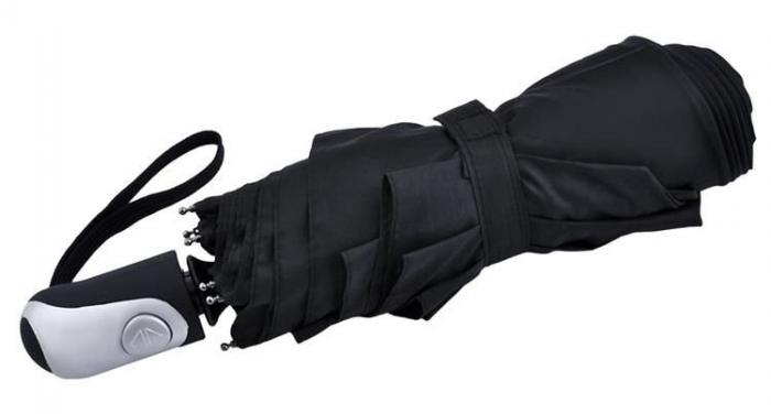 Umbrela  pliabila automata deschis/inchis cu buton neagra complet 110cm diametru, articulatii anti-vant 1