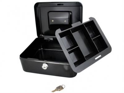 Caseta - Cutie din Metal pentru pastrat Bani, Inchidere cu Cheie, Culoare Negru, Dimensiuni 20x16x9cm1