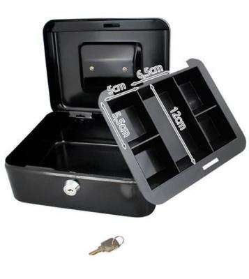 Caseta - Cutie din Metal pentru pastrat Bani, Inchidere cu Cheie, Culoare Negru, Dimensiuni 20x16x9cm7