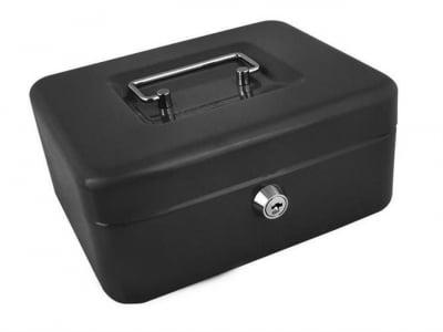 Caseta - Cutie din Metal pentru pastrat Bani, Inchidere cu Cheie, Culoare Negru, Dimensiuni 20x16x9cm3
