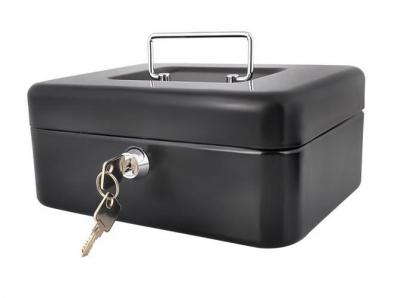 Caseta - Cutie din Metal pentru pastrat Bani, Inchidere cu Cheie, Culoare Negru, Dimensiuni 20x16x9cm5