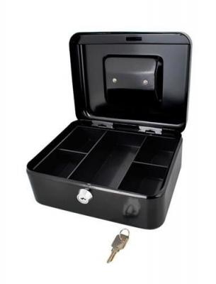 Caseta - Cutie din Metal pentru pastrat Bani, Inchidere cu Cheie, Culoare Negru, Dimensiuni 20x16x9cm2