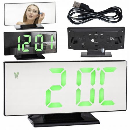 Ceas cu alarmă oglinda ceas termometru electronic cu LED 4 in 10