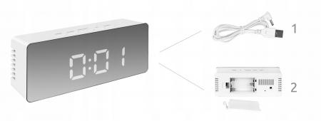 Ceas cu alarmă tip oglindă 3 in 1 - alb [13]