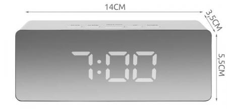Ceas cu alarmă tip oglindă 3 in 1 - alb [14]