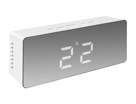 Ceas cu alarmă tip oglindă 3 in 1 - alb [7]