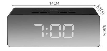 Ceas cu alarma tip oglinda 3 in 1 - negru [8]