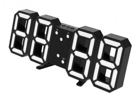 Ceas digital LED termometru data  functie alarma  fixare perete 12/24h5