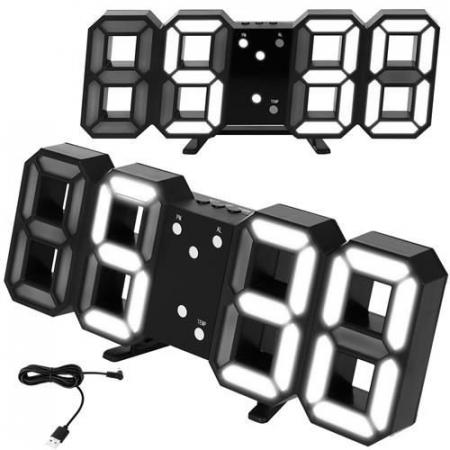 Ceas digital LED termometru data  functie alarma  fixare perete 12/24h0