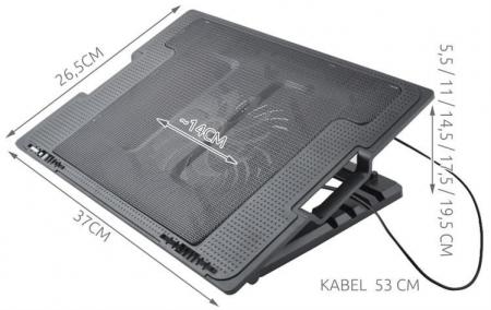 Cooler Laptop cu ventilator iluminat, 17 inch, 2 port USB, inaltime ajustabila, Negru [12]