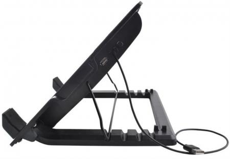 Cooler Laptop cu ventilator iluminat, 17 inch, 2 port USB, inaltime ajustabila, Negru [11]
